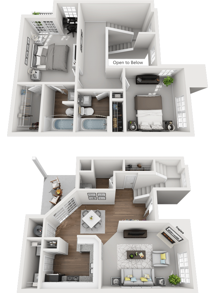 The Barberry Floor Plan, Gentry Square Apartments, Champaign, IL