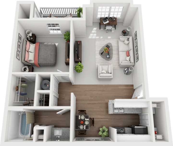 The Juniper Floor Plan, Gentry Square Apartments, Champaign, IL