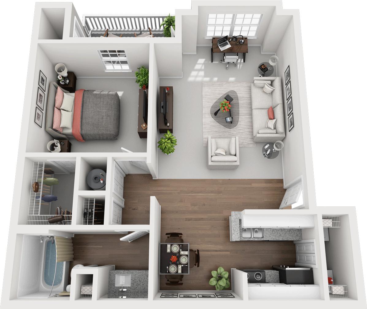 The Juniper Floor Plan, Gentry Square Apartments, Champaign, IL