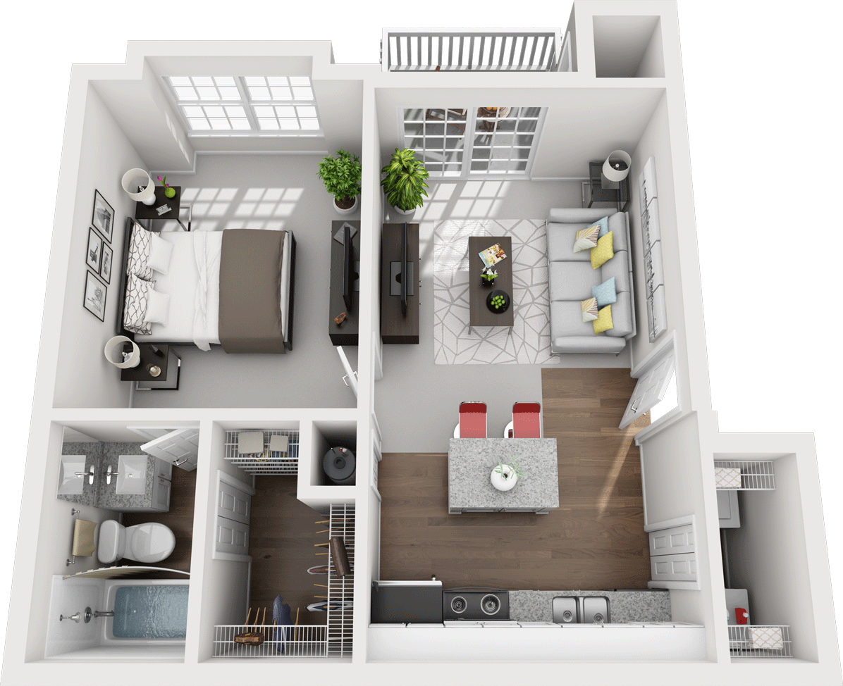 The Laurel Floor Plan, Gentry Square Apartments, Champaign, IL