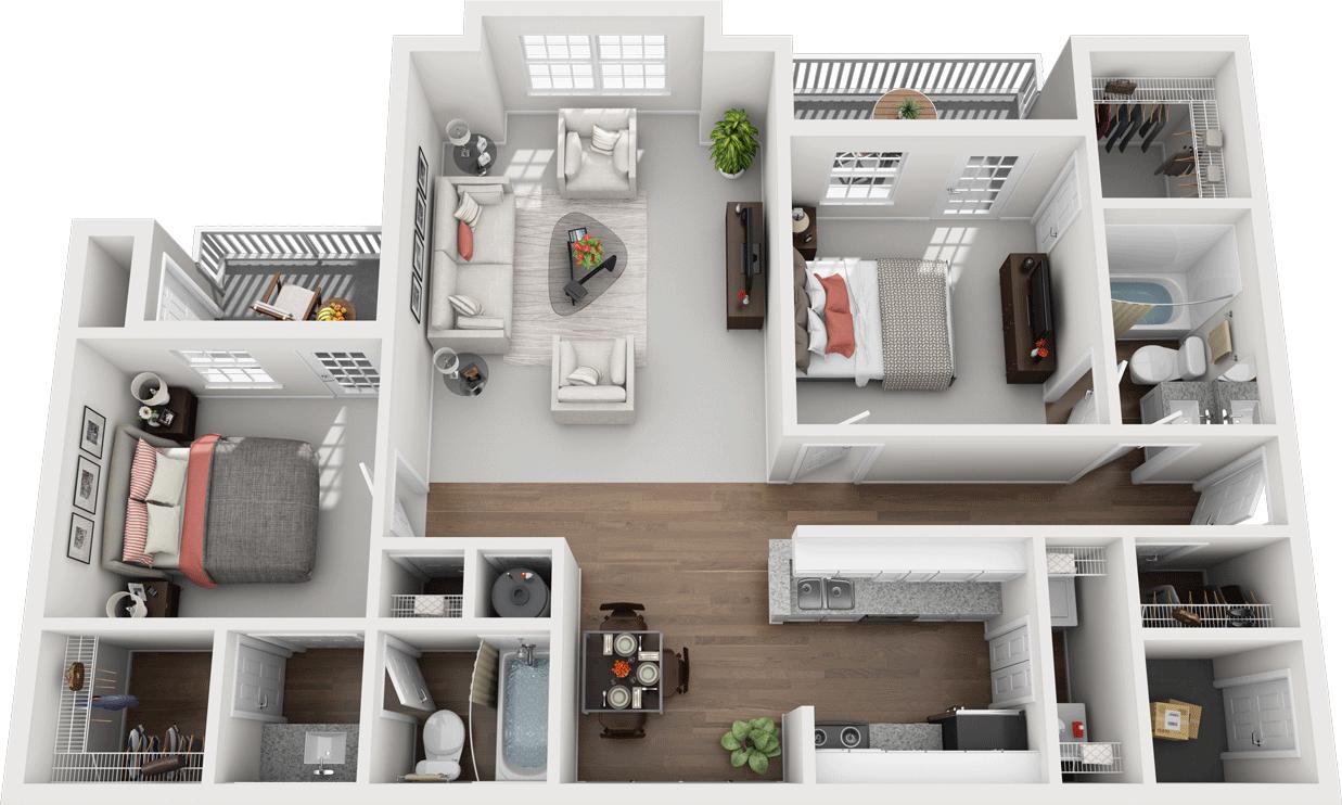 The Poplar Floor Plan, Gentry Square Apartments, Champaign, IL